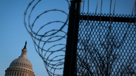 Barbed wire surrounding the U.S. Capitol on Thursday, March 4, 2021