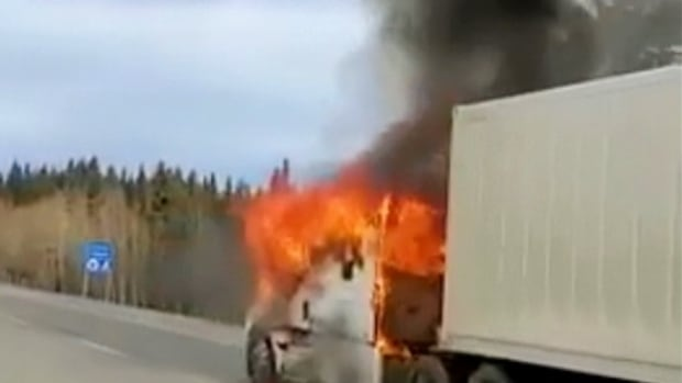 Semi-trailer catches fire west of Calgary on Highway 1