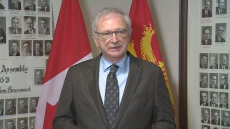 New Brunswick Premier Blaine Higgs speaks to reporters at the Legislature on Friday, 19 March 2021 about his government's decision to not sell Cannabis NB to a private company.