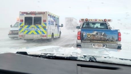 Up to 70 vehicles pile up on Trans-Canada Highway as winter weather rips through Alberta