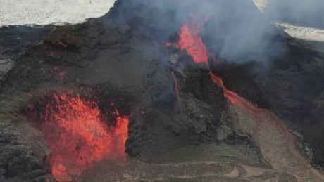 Drone captures Iceland volcano's lava show