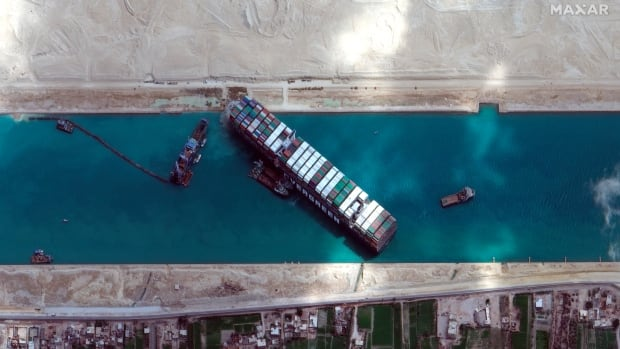 After getting stuck in Suez Canal, the Ever Given is now stuck in Egypt — until it pays its $900M bill | CBC News