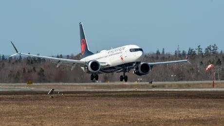 Air Canada Boeing 737 Max plane landing in Halifax