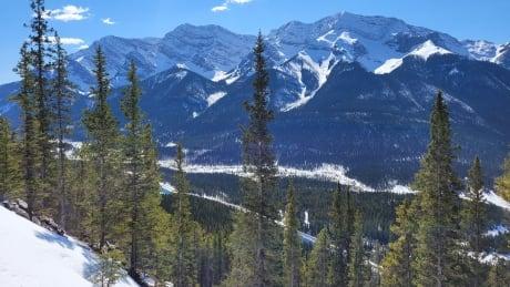 Ha Ling view Canmore Rocky Mountains Trail Snow
