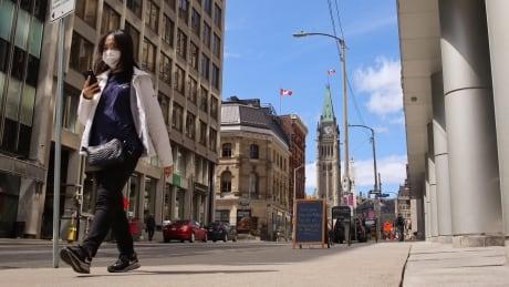 woman pedestrian covid-19 pandemic mask ottawa coronavirus phone