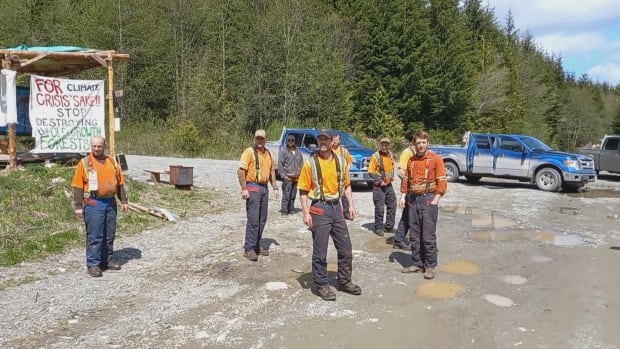 Altercation between loggers and activists near Vancouver Island blockade captured on video
