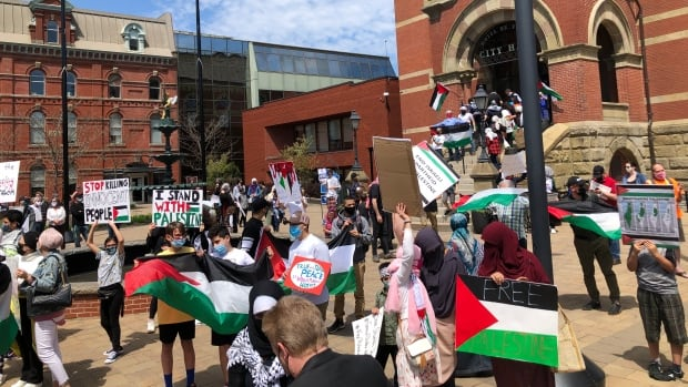 Pro-Palestinian rally held in Fredericton amid escalating Middle East violence | CBC News