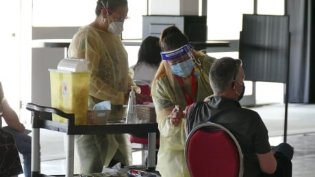 Peguis First Nation pop up clinic at Assiniboia Downs site