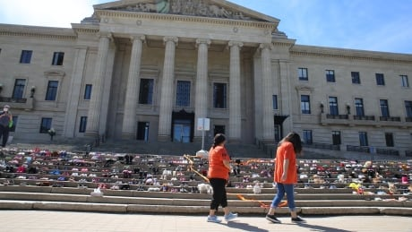 Shoes on the steps of the Manitoba legislative building