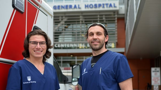 Pro hockey player swaps jersey for scrubs, joins younger brother in nursing school