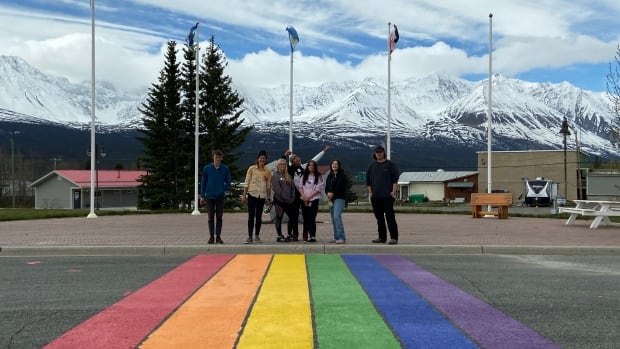 Students celebrate inclusivity in Haines Junction with a rainbow crosswalk