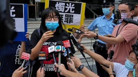 Chow Hang Tung speaks to media after release
