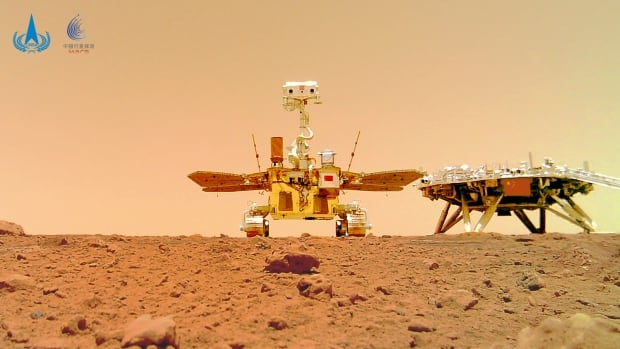 Chinese rover and lander pose for portraits on Mars