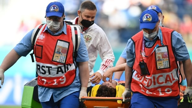 Russia player Fernandes hospitalized with suspected spinal injury in win over Finland at Euros