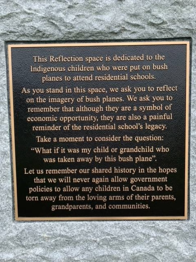 Bush plane monument in Thompson, Man., a painful reminder for residential school survivors