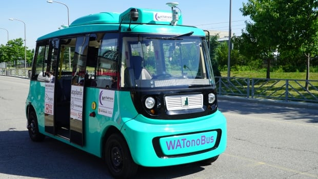 Driverless shuttle bus hits the road at University of Waterloo campus | CBC News