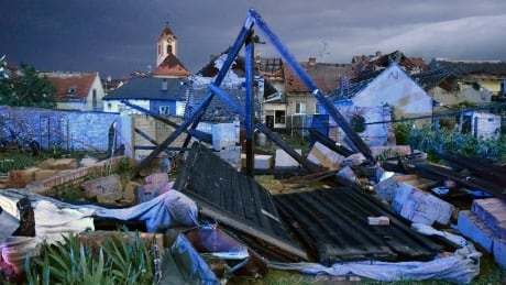 Aftermath of tornado that hit South Moravia area in Czech Republic