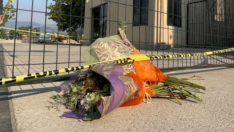 Pop-up flower memorial near the crane collapse site in downtown Kelowna