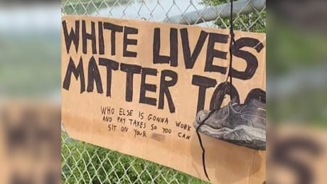 White lives matter too sign Muskoday First Nation Bridge