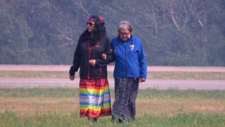 Delmas Indian Residential School survivor Jenny Spyglass at right