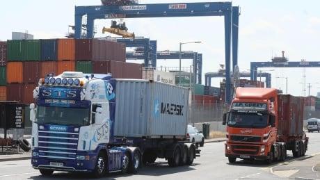 Trucks in Belfast Harbour