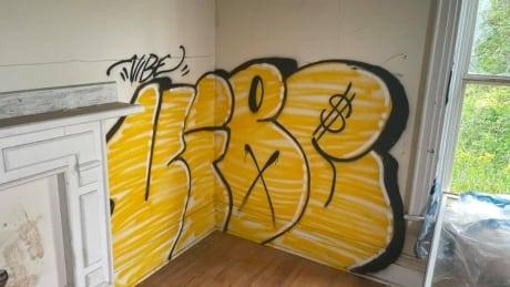 Grafitti in Wigston house