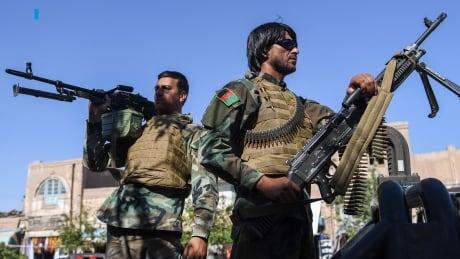 Afghan security personnel at work in Herat, Afghanistan
