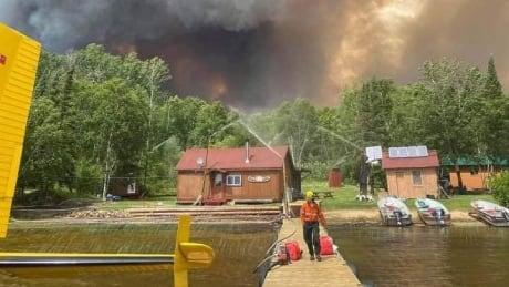 Fire on lake