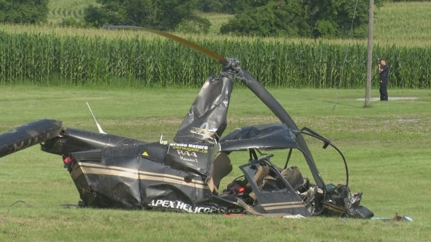 Woman, 35, taken to hospital with minor injuries after helicopter crash in Brantford, Ont.   CBC News