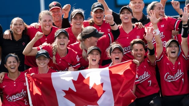 Here's how loved ones back home celebrated Canada's historic women's softball Olympic win   CBC News