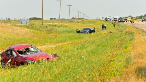 Speeding car narrowly misses workers in construction zone   CBC News