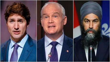 Justin Trudeau Erin O'Toole Jagmeet Singh composite