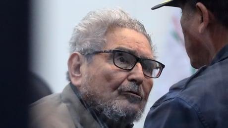 Abimael Guzman seen at trial hearing at naval prison in Callao, Peru, in 2018