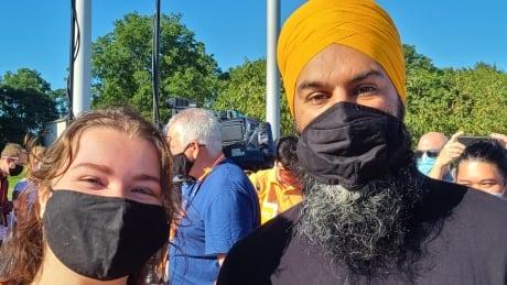 Meghan Piironen and NDP leader Jagmeet Singh
