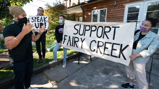 Activists confront Singh over NDP's environmental stance on Fairy Creek, TMX