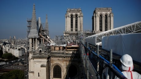 View of roof under repair at Notre-Dame Cathedral in Paris in April 2021