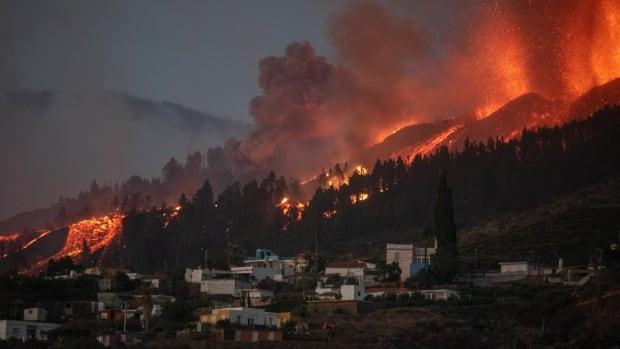 Homes destroyed after volcano erupts in Spain