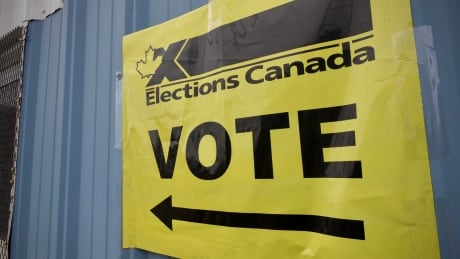 Vote sign at Iqaluit polling station