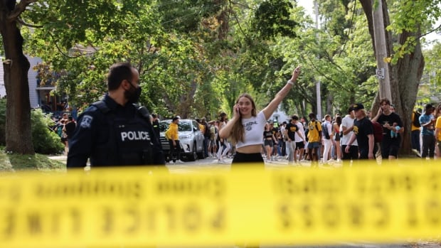 'Relax, we are double vaxxed': Hundreds of Dalhousie students attend street party   CBC News