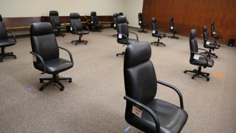 Superior Court courtroom with COVID precautions