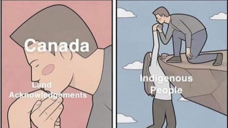 Land acknowledgement meme