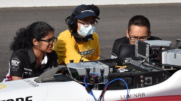 University of Waterloo students race a driverless car on the Indianapolis Motor Speedway