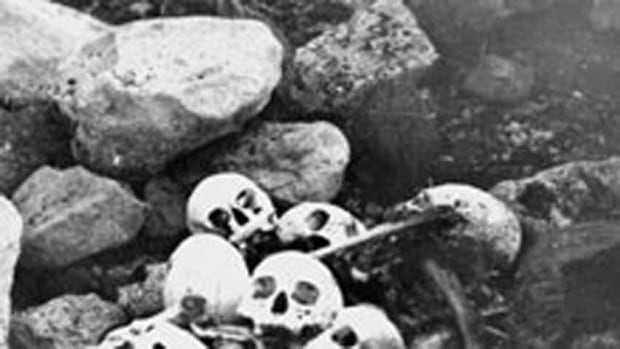 This 1945 photo shows skulls of members of the Franklin Expedition discovered and buried by William Skinner and Paddy Gibson. Researchers have completed the first genetic analysis on the bones from the crew of the doomed Franklin expedition.